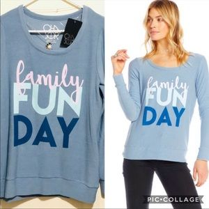 •CLOSING CHASER• BLUE FAMILY FUNDAY SWEATER TOP